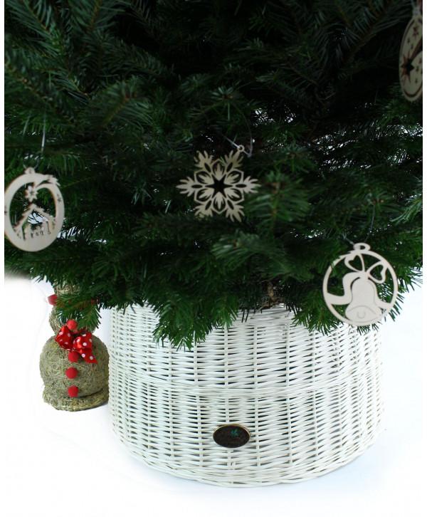 Prútený košík pod stromček Biely