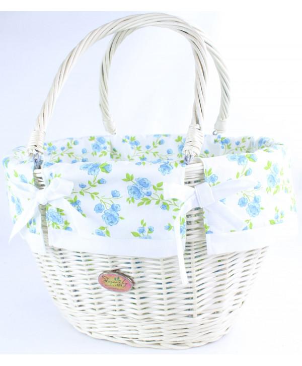 Prútená nákupná taška Tari White ROSE
