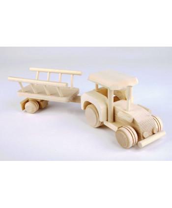 Drevený traktor s vozom